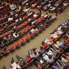 People sitting in lecture theatre